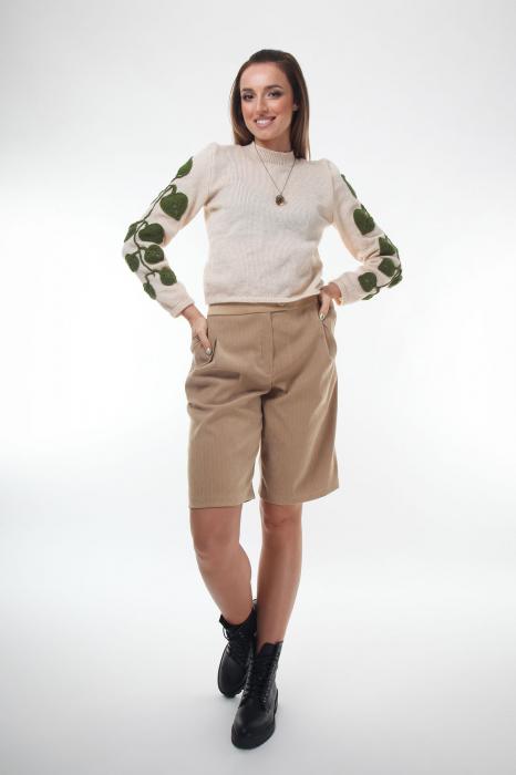 Pantaloni din stofa bej cu buzunare laterale 2