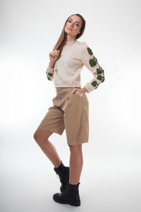 Pulover dama tricotat cu frunze aplicate Creamy 3