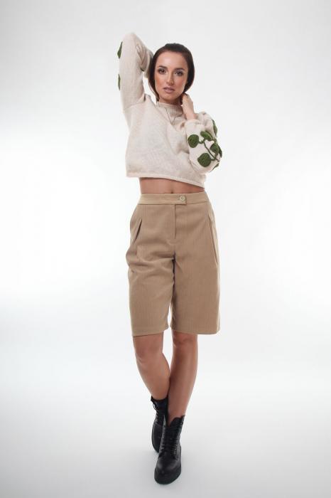 Pantaloni din stofa bej cu buzunare laterale 0