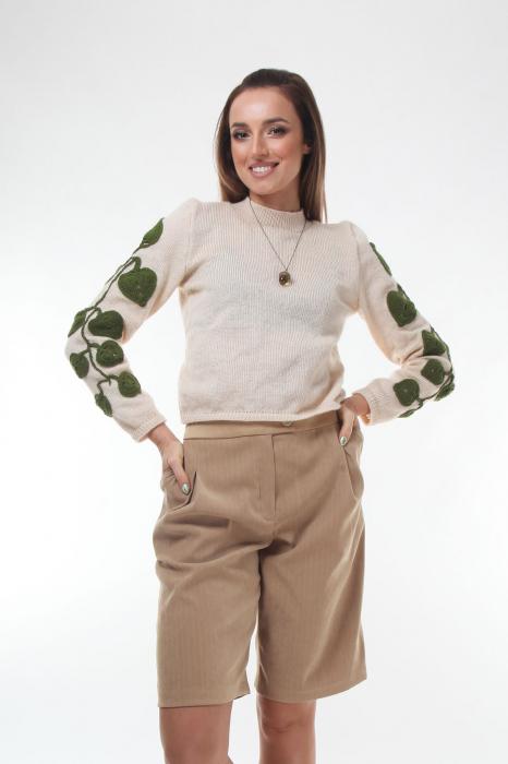 Pulover dama tricotat cu frunze aplicate Creamy 0