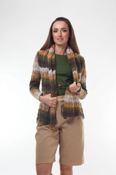 Cardigan dama tricotat in nuante de maro degrade 0