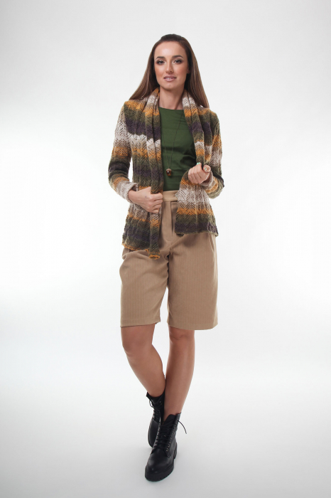 Cardigan dama tricotat in nuante de maro degrade 2