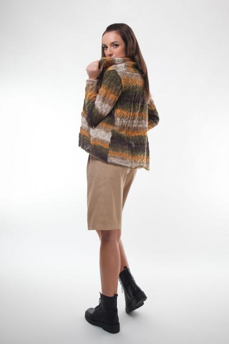 Cardigan dama tricotat in nuante de maro degrade 1