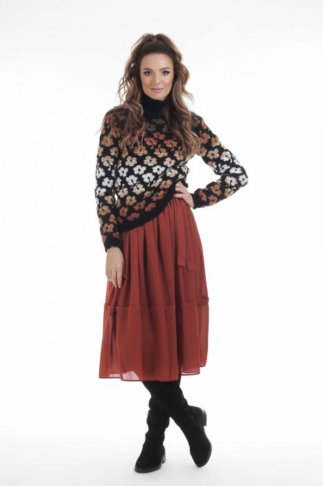 Pulover tricotat negru cu model floral si maneci lungi 2