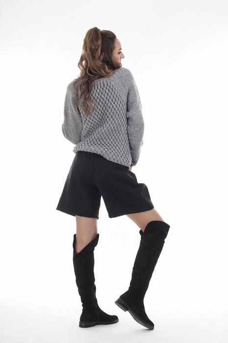 Pulover tricotat manual gri cu maneci lungi 2