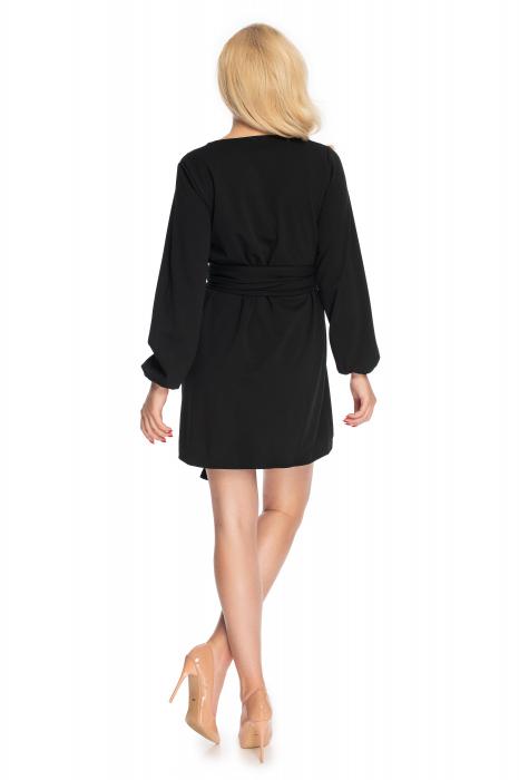 Rochie neagra cu maneci lungi si cordon lung 3