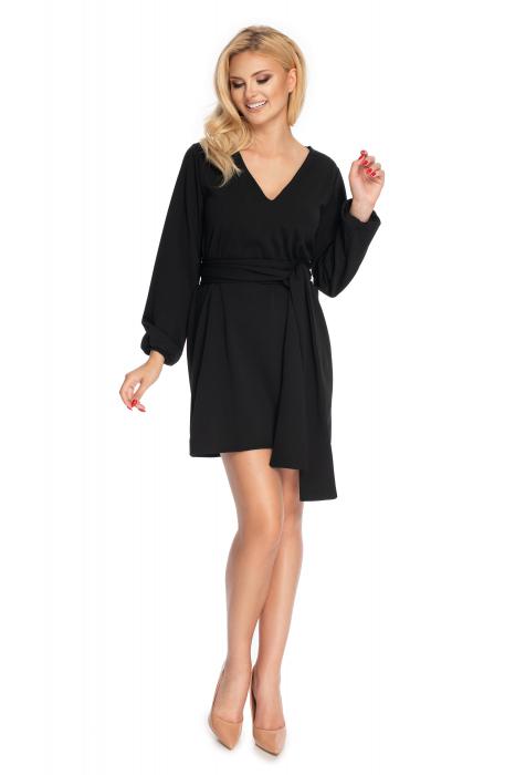 Rochie neagra cu maneci lungi si cordon lung 1