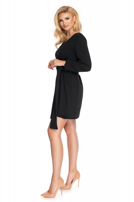 Rochie neagra cu maneci lungi si cordon lung 2