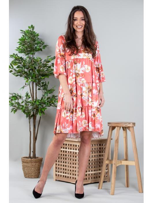 Rochie lejera cu imprimeu floral Coral Yvesse [1]