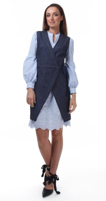 Rochie tunica alba cu dungi albastre si broderie sparta 3