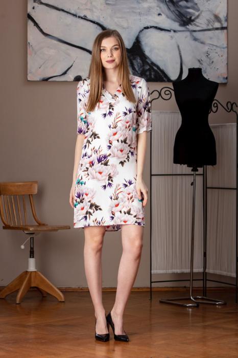 Rochie casual dreapta cu imprimeu floral Sole 0