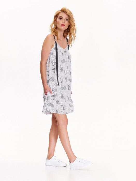 Rochie de zi din vascoza cu imprimeu marin si bretele negre [4]