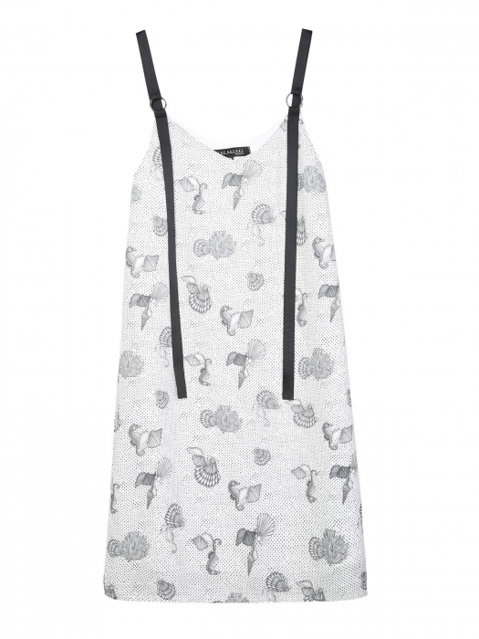 Rochie de zi din vascoza cu imprimeu marin si bretele negre [5]