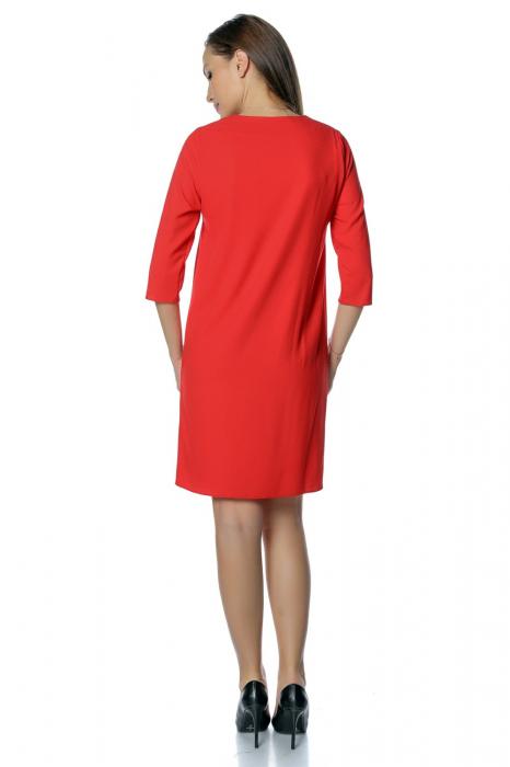 Rochie casual rosie cu dantela aplicata pe decolteu RO271 [2]