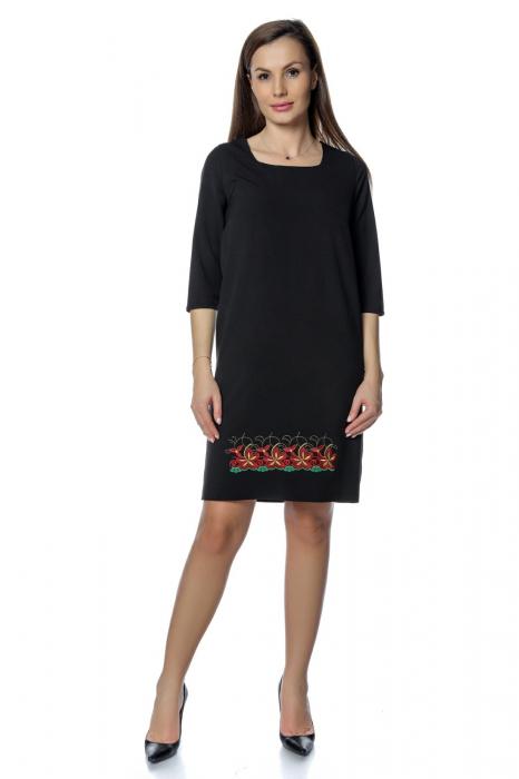 Rochie casual neagra cu broderie florala RO275 0