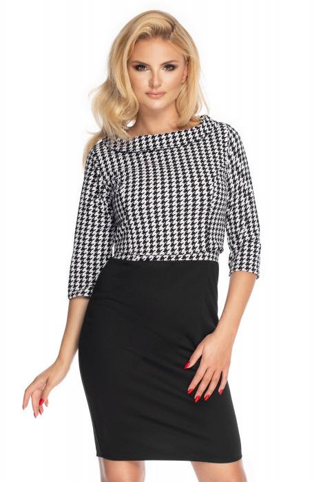 Compleu office format din rochie si bluza neagru cu alb 0