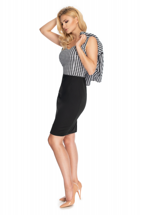 Compleu office format din rochie si bluza neagru cu alb 2