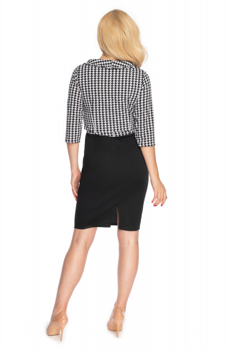 Compleu office format din rochie si bluza neagru cu alb 3