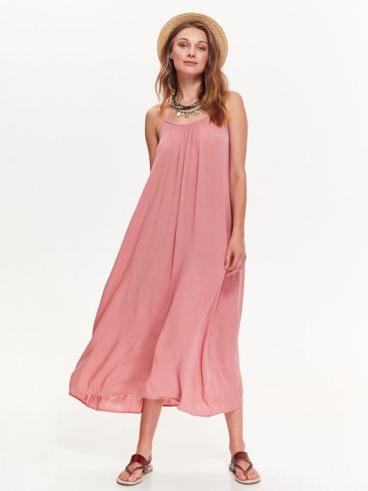 Rochie lejera lunga cu bretele subtiri din vascoza Nude Pink 0