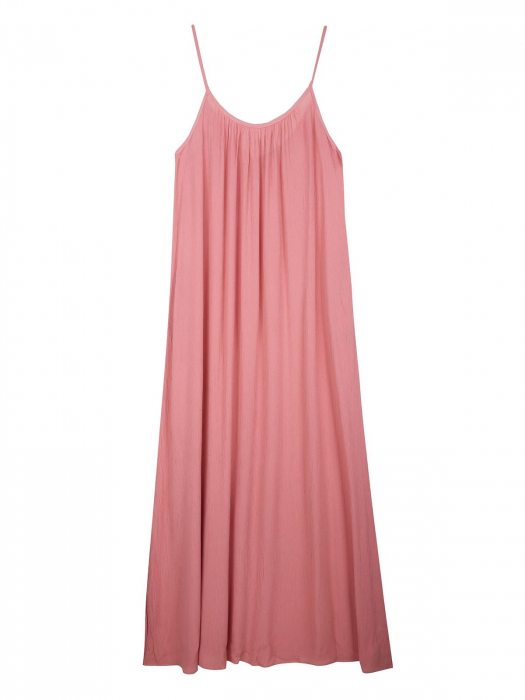 Rochie lejera lunga cu bretele subtiri din vascoza Nude Pink 4