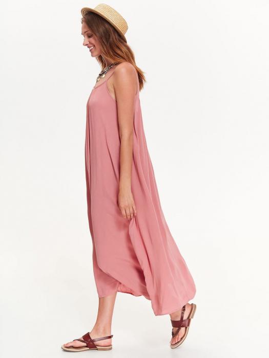 Rochie lejera lunga cu bretele subtiri din vascoza Nude Pink 2