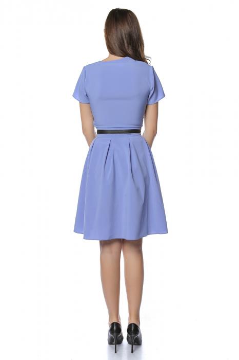 Rochie dama casual bleu cu aplicatie piele ecologica in talie RO238 2