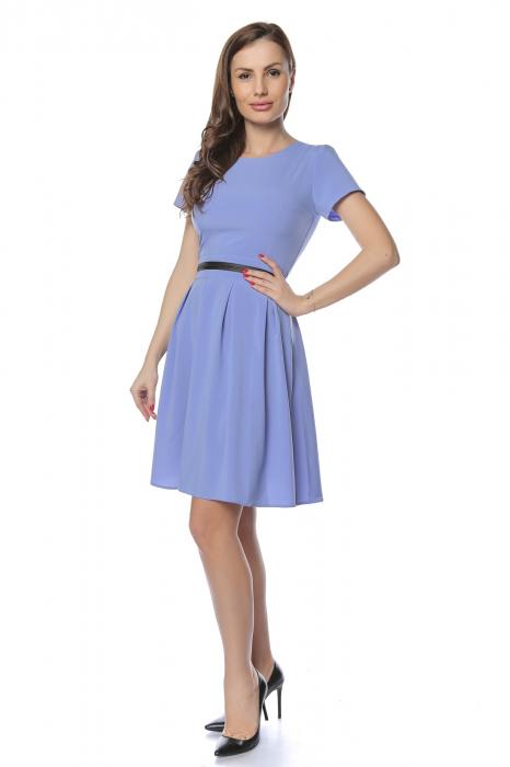 Rochie dama casual bleu cu aplicatie piele ecologica in talie RO238 1