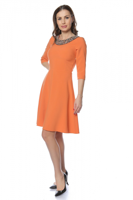 Rochie dama casual cloche orange cu margele multicolore la gat RO221 1
