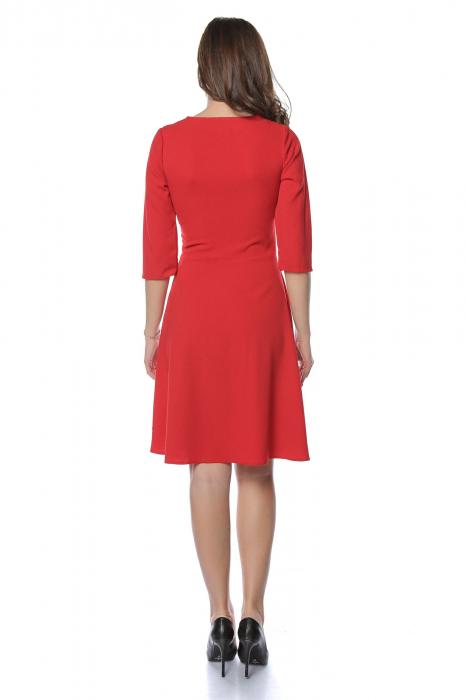 Rochie dama casual cloche rosie cu dantela aplicata RO218 1