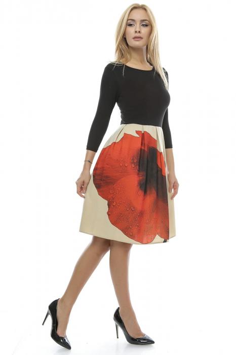 Rochie dama cu fusta imprimata RO123, L 1