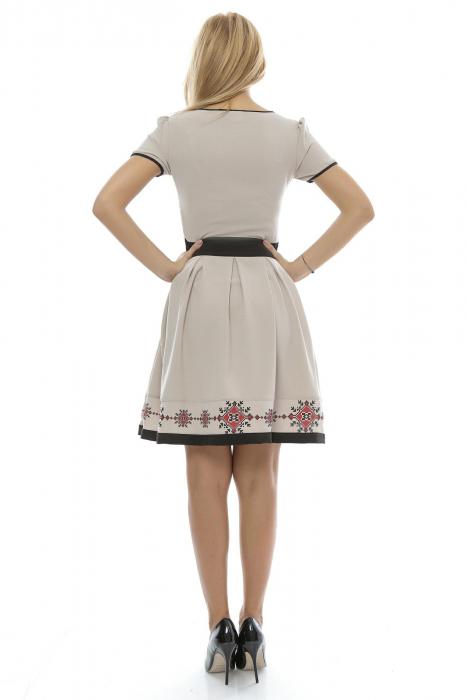 Rochie dama cu fusta plisata  si imprimeu traditional RO129 2