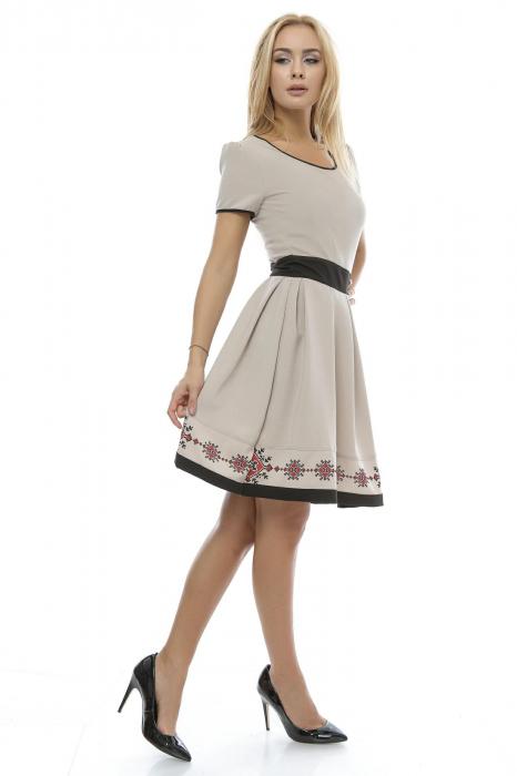 Rochie dama cu fusta plisata  si imprimeu traditional RO129 1