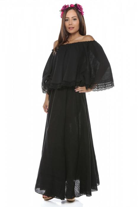 Rochie dama din panza topita Fluture Negru 3
