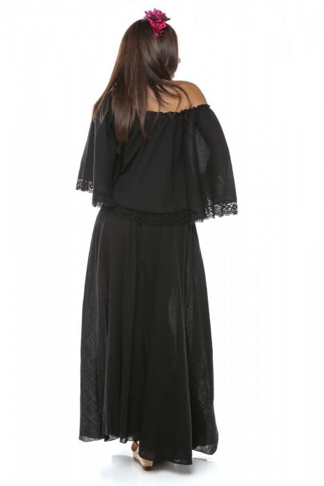 Rochie dama din panza topita Fluture Negru 1