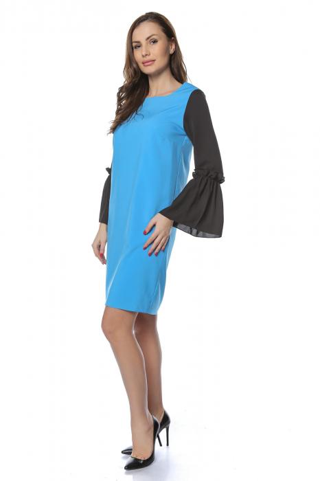 Rochie dama eleganta bleu cu maneci lungi negre RO227 0