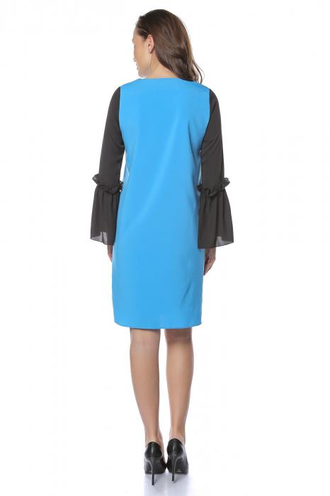 Rochie dama eleganta bleu cu maneci lungi negre RO227 1