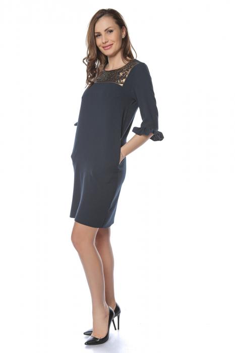 Rochie dama eleganta bleumarin cu aplicatie bronz la gat RO229 [0]