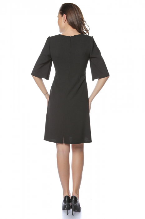 Rochie dama eleganta neagra cu aplicatie multicolora la gat RO226 [1]