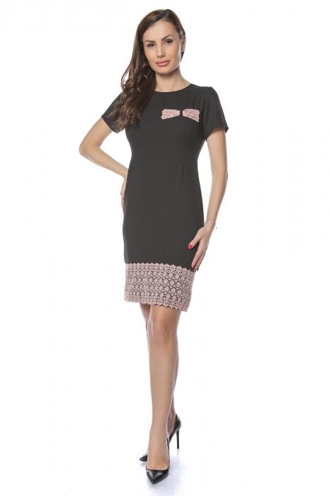 Rochie dama eleganta neagra cu dantela brodata aplicata RO235 2