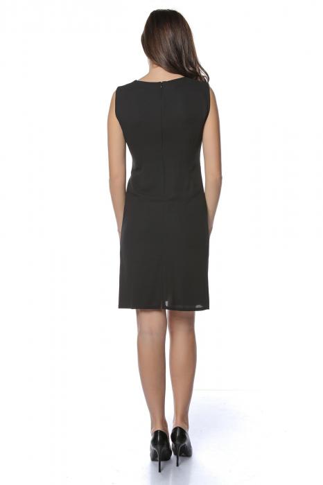 Rochie dama eleganta neagra cu margele multicolore la gat RO236 2
