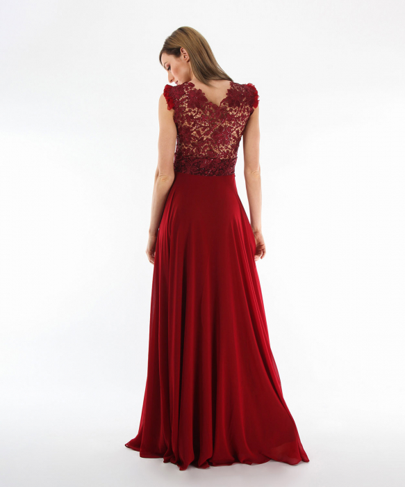Rochie dark red floral lace