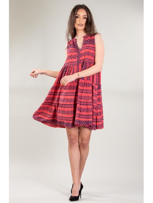 Rochie de zi cu imprimeu forme geometrice Red Day [0]