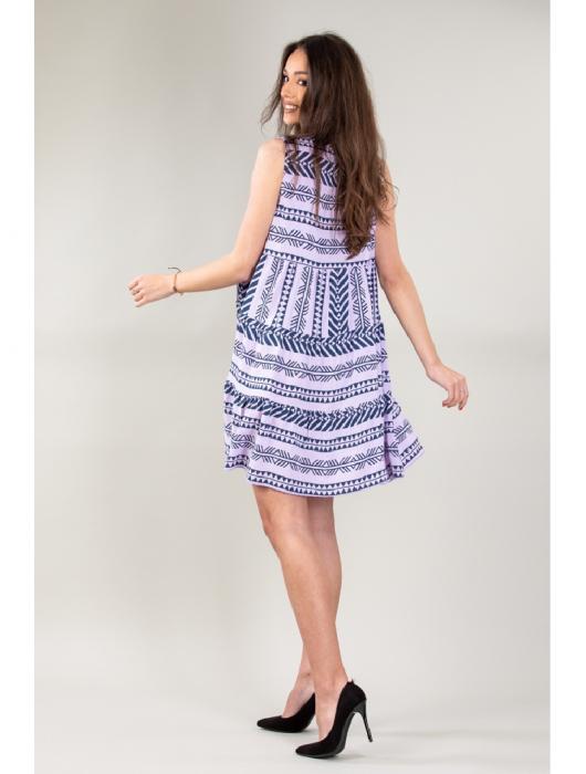 Rochie de zi cu imprimeu forme geometrice Purple Day [2]