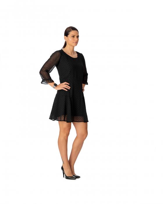 Rochie din voal texturat negru Alicia [2]