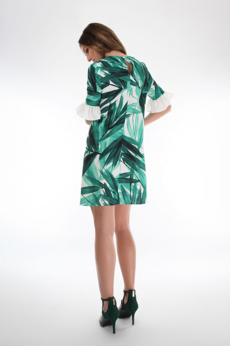 Rochie din vascoza Tropical Green 1