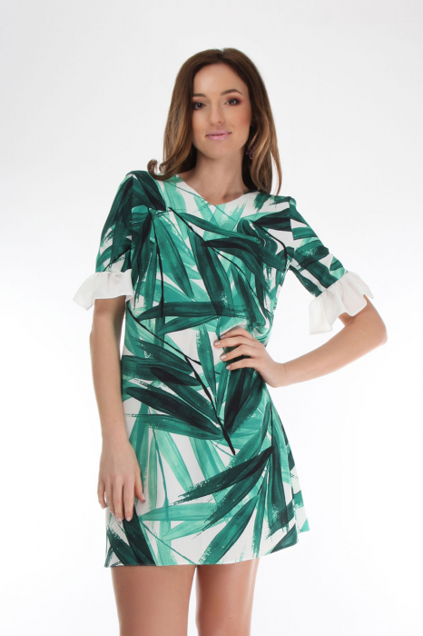 Rochie din vascoza Tropical Green 0