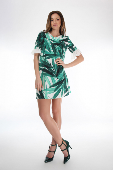 Rochie din vascoza Tropical Green 2