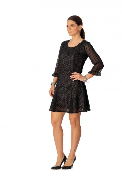 Rochie din voal texturat negru Adella [1]