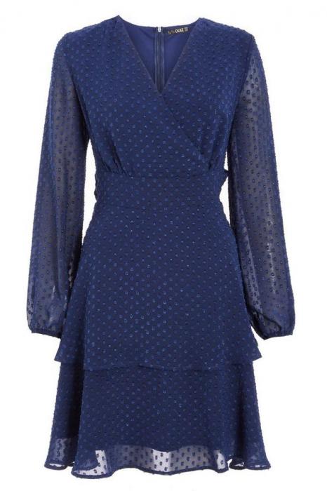 Rochie eleganta cu maneci lungi si volane Quiz Blue [3]