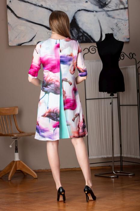 Rochie eleganta midi in doua culori Misludia